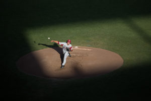 Arkansas starting pitcher Blaine Knight throws against Oregon State in the bottom of the third inning of the first game of the College World Series title series Tuesday, June 26, 2018, at TD Ameritrade Park in Omaha, Nebraska.