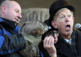 Woodstock Willie proclaims to Woodstock Mayor Dr. Brian Sager that he has seen his shadow on Groundhog Day, February 2, 2017, in Woodstock. This proclamation means there will be 6 more weeks of winter.