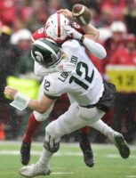 Nebraska's Antonio Reed sacks Michigan State quarterback Rocky Lombardi and forces a fumble Saturday, Nov. 17, 2018, during the second half at Memorial Stadium.