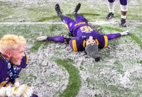 Bellevue West teammates, from left, CJ Lilienkamp and Devin Mills make snow angels as they celebrate their Class A State Title over Westside on Tuesday, Nov. 26, 2019, in Lincoln.