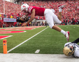 Nebraska quarterback Adrian Martinez dives for a touchdown against Colorado on Saturday, Sept. 8, 2018, at Memorial Stadium in Lincoln, Nebraska.
