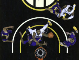 Missouri Forward Russel Woods dunks the ball in a game against LSU at Mizzou Arena on Wednesday, January 4, 2017. Although Missouri led at halftime, LSU won 88-77.