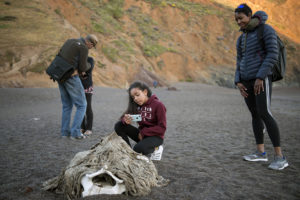 "Shawn Brokemond (right) watches as her granddaughter Nikiah Brokemond, 12, films the bone of a whale that had washed up on the shore a few weeks prior Monday, June 4, 2018, at Tennessee Beach. ""I think it looks like a squished pumpkin,"" narrated Nikiah, as she filmed. ""Comment what you think it looks like below."""