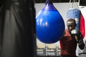 OMAHA, NEBRASKA – MAY 21:   Terence Crawford completes his mid-morning training at B&B Boxing Academy on Monday, May 21, 2018, in Omaha, Neb. Crawford typically trains in Colorado Springs, Colorado, but was in town for his nephew's high school graduation ceremony. (Kayla Wolf for ESPN)