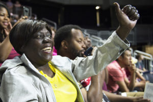 OMAHA, NEBRASKA – MAY 21: Debra Crawford gives her grandson Tre'vion Crawford a thumbs up as he graduates from Bryan High School at Baxter Arena on Monday, May 21, 2018. Tre'vion is her first grandchild to graduate high school. (Kayla Wolf for ESPN)