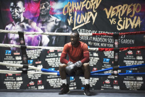 OMAHA, NEBRASKA – MAY 21:   Terence Crawford rests during his mid-morning training at B&B Boxing Academy on Monday, May 21, 2018. (Kayla Wolf for ESPN)