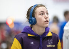 """Jerzie Menke, a senior at Bridgeport High School, has been wrestling since the fourth grade. She began wrestling when her older brother attended practice and she tagged along. """"I started playing the games with them at practice and kept showing up,"""" Menke said."""