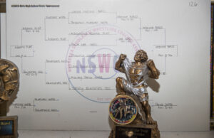 The Nebraska Scholastic Wrestling Coaches Association 126 pound girls bracket is displayed in Menke's room.