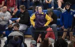 Jerzie Menke was one of a few girls wrestling at the Class C-4 district wrestling meet in Hershey, Nebraska.