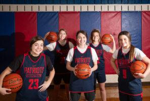 Freshman basketball players, from left, Mya Babbitt, Miranda Kelly, Juliana Jones, Cora Olsen and Khloe Lemon on Tuesday, Jan. 14, 2020, at Millard South High School.