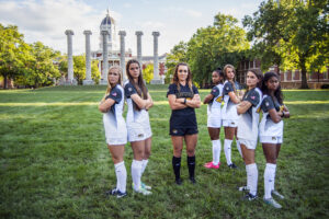 The Missouri women's soccer team takes a promotional team portrait for the upcoming season Tuesday, Sept. 1, 2016, on the Francis Quadrangle at the University of Missouri.