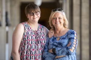 Erin Phillips, left, who has cerebral palsy, poses for a portrait with her mom Mary Phillips on Friday, April 19, 2019, at the Capitol in Lincoln. Erin advocates on behalf of others as a disability policy specialist at People First of Nebraska, Inc. where she reviews proposed state legislation to testify to the state legislature on the pros and cons of a bills' impact on the community.