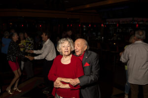 Dave Bieber, 95, and wife Arlene, 85, dance together Monday, Sept. 10, 2018, at Ozone Lounge in Omaha, Nebraska. The two have been married 66 years.