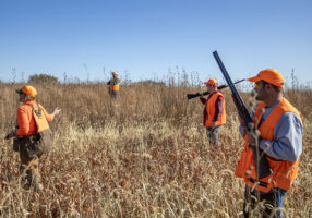 Professional dog trainer and hunting guide Aleah German, left, leads a pheasant hunt Friday, Oct. 25, 2019, at Beede Outdoors in Unadilla, Nebraska. The hunting operation is specially licensed for extended hunting seasons.